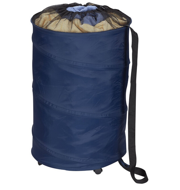 Spiral Pop Up Blue Polyester Laundry Hamper with Wheels and Drawstring Closure