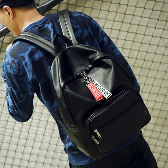 Black Popular PU Leather Lady Backpack/Rucksack
