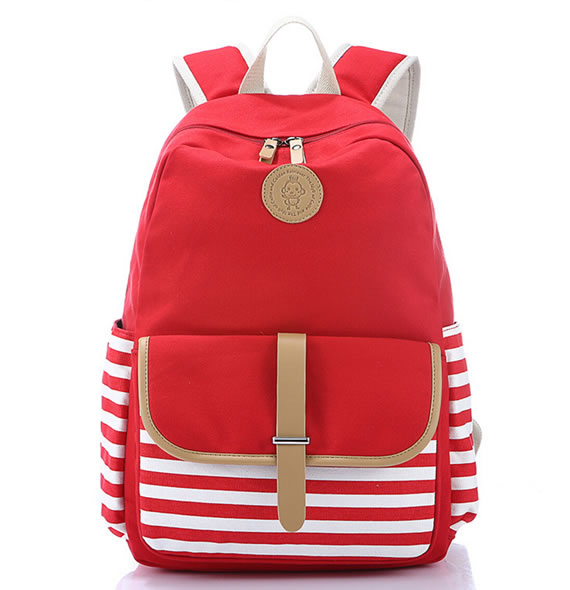 Red Striped Canvas Lady Backpack/Rucksack