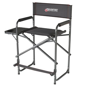 Take-Out Seat Steel Chair with Side Table, Director Chair With Side Table, Game Day Graphite