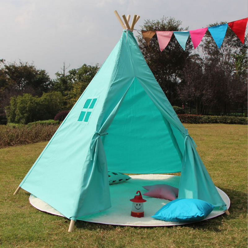 Indoor Canvas Cotton Kids Tent Indian Teepee with 5 Wooden Poles