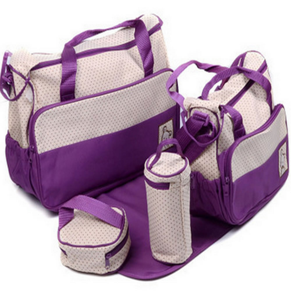 5 pieces Set Baby Nappy Bag Mummy Handbag With Milk Bottle holder