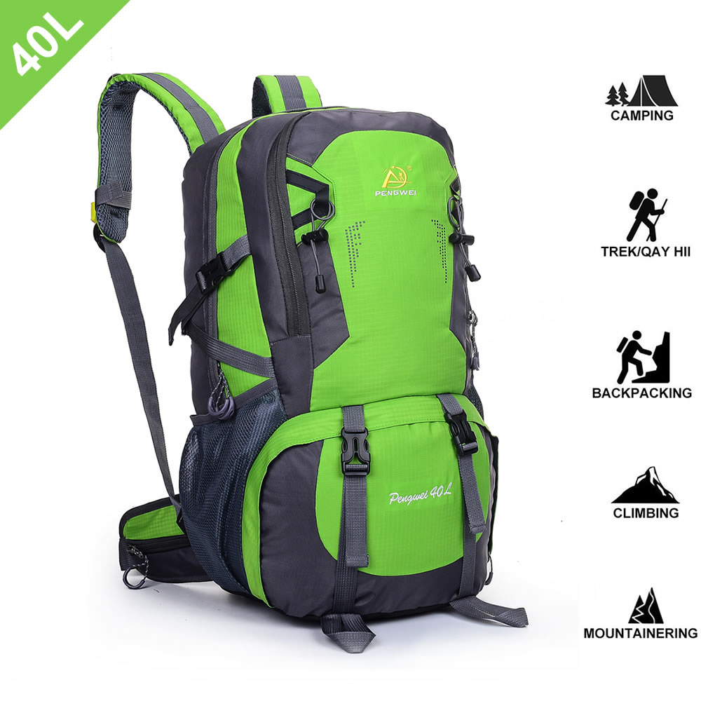 SpringOrchid Camping Hiking Daypacks Backpack - Sports Hiking Rucksack - Green 40L